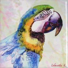 "Painting ""the merry parrot"" watercolour, ceramic tile sublimation, wall decoration 10x10 cm, animal - SobolevaArt"