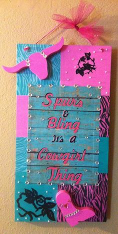 Spurs & Bling Hanging Wall Sign