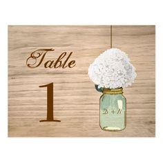 Country Rustic Mason Jar & Hydrangea Table Number Postcard
