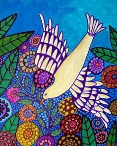 Bird Art - White Dove Art Bird print poster painting modern abstract folk art Contemporary - Wedding Gifts. $24.00, via Etsy.