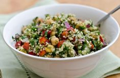 Bulgur Salad with Cucumbers, Red Peppers, Chick Peas, Lemon and Dill - Food of a Healthier sort Bulgur Recipes, Dill Recipes, Salad Recipes, Couscous Recipes, Berry, Cooking Recipes, Healthy Recipes, Chef Recipes, Chickpeas