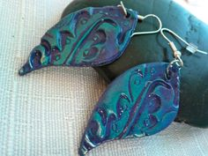 Peacock Earrings Curvy Teal Blues and Purples by Joystreet on Etsy, $14.00