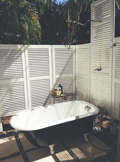 Outdoor tub and shower