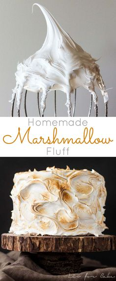 Make your own Marshmallow Fluff at home with a few simple ingredients! Perfect as a filling but works great as a simple frosting too! Marshmallow Frosting Recipes, Homemade Marshmallow Fluff, Icing Recipe, Marshmallow Frosting With Fluff, Buttercream Frosting, How To Make Marshmallows, Homemade Marshmallows, Pastries, Merengue