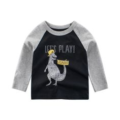 MOF Kids sweatshirts toddler sweatsuit dinosaur print featuring a crew neck, long sleeves, a printed dinosaur logo to the front, side slits and a straight hem. Cute Tshirts, Boys T Shirts, Casual T Shirts, Baby Shirts, Boys Christmas Shirt, Dinosaur Shirt, Kids Tops, Matching Family Outfits, Baby Kids Clothes