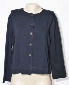 EASY-SPIRIT-Black-Cardigan-Shirt-Sweater-2-2X-3-4-Sleeves-Versatile-Buttonfront