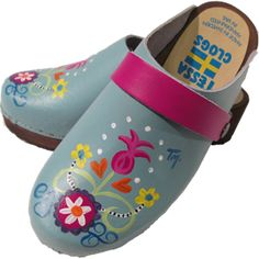 Turquoise Rebecca, your choice of snap-strap, Tessa Clog