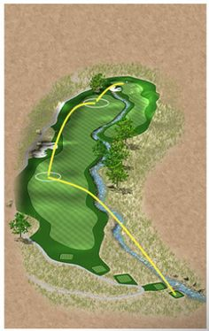 Hole 13  The tee shot on this hole is critical. Any ball that starts fading will more than likely end up in the lateral hazard that guards the right side of the fairway.
