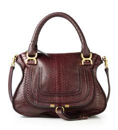 Saddle Bag 'Marcie Medium' Aubergine/Python von Chloé bei UNGER-FASHION.com