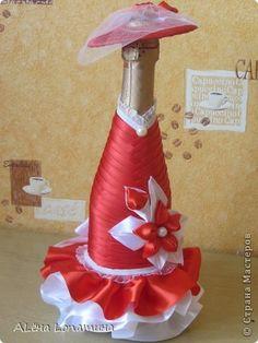 Декор предметов Упаковка 8 марта День матери День рождения День учителя Свадьба Цумами Канзаши Бутылочки часть первая Бутылки стеклянные Ленты фото 2