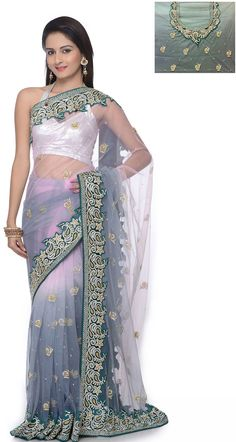 Glamorous Grey and White Net Embroidered Saree With Blouse - IG6691 USD $ 548.38
