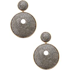 Artisan Women's 18K Gold Diamond Round Disc Earring - Silver (13.130 RON) ❤ liked on Polyvore featuring jewelry, earrings, silver, yellow gold earrings, yellow gold diamond earrings, gold round earrings, 18k diamond earrings and gold diamond earrings