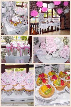 Mesa de dulces vintage, postres/ rosa / baby shower/ Dulcesa