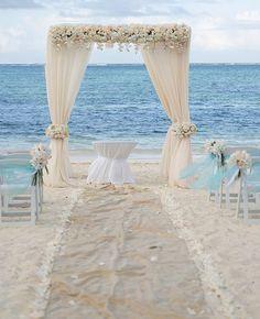 Elegant Caribbean Beach Wedding Arch by Weddings Romantique -Lindy Photography