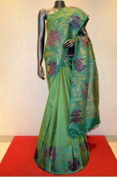 Green Kanjeevaram Silk Saree With Designer Zari Border