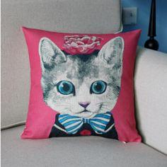 Cute animal flower cat best pillow square linen cushions