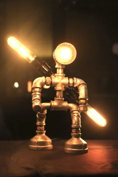 EBE Designer Industrial Lighting RED Steampunk Lamp Table
