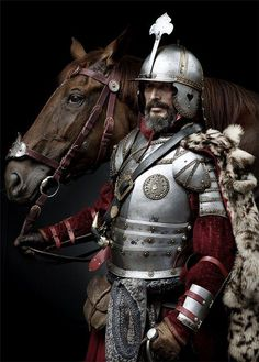 Another Polish Hussar decked out in full armor. Medieval Knight, Medieval Armor, Medieval Fantasy, Ancient Armor, Armadura Medieval, Costume Armour, Knight In Shining Armor, Arm Armor, Fantasy Armor