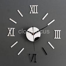 Orologio da Parete Adesivo Specchio Con 3D Numeri Romani Disegno Decal Decor
