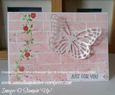 Floral Wings Stamp Set, Brick Wall Embossing Folder and embossing resist technique background. Card created by Anna Krol #stampinupuk Independent Demonstrator www.annastampincave.stampinup.net
