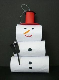 sněhulák z toaletních roliček