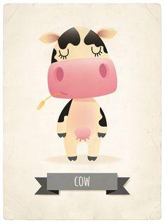 Cow art print nursery illustration 5x7in farm by IreneGoughPrints