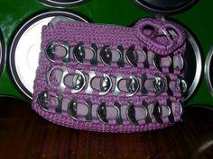 monedero rosa de chapas bolso tamano mediano realizado en ganchillo