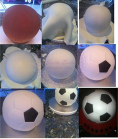 football cake tutorial by Stella Bella Cupcakes & Cakes Bolo Fondant, Fondant Cakes, Cupcake Cakes, Party Cupcakes, 3d Cakes, Cake Decorating Techniques, Cake Decorating Tutorials, Decorating Supplies, Soccer Ball Cake