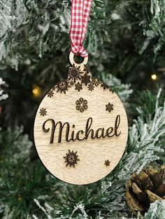 Add a personal touch to your Christmas tree with these engraved wooden ornaments by RusticCharm11 on Etsy.