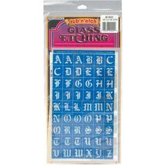 """Old English Alphabet Rub 'n' Etch Glass Etching Stencils 5""""X8"""" 1/Pkg 20R-0222 - Christmas Tree Ornament Painting"""