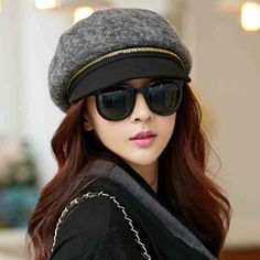 Chain newsboy cap for women fashion wool winter hats