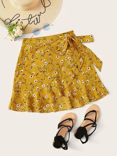 Ditsy Floral Ruffle Hem Wrap Self Tie Skirt - costura skirt street style skirt mini skirt vintage Floral Skirt Outfits, Black Floral Skirt, Floral Skirts, Girls Fashion Clothes, Girl Fashion, Fashion Outfits, Girl Outfits, Mode Pastel, Tie Skirt