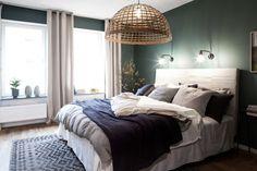 Master bedroom, inredning, sovrum, mysig bäddning, linne, väggfärg, moodhouse interiör