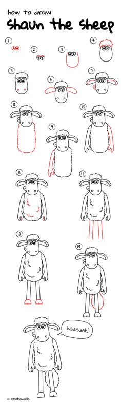 How to draw Shaun the sheep. Easy drawing, step by step, perfect for kids! Let's draw kids. http://letsdrawkids.com/