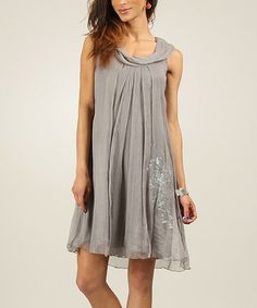 Look at this Gray Embroidered Silk Scoop Neck Dress on #zulily today!
