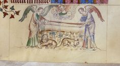 St Catherine being buried by angels on Mount Sinai, from the Queen Mary Psalter, Royal MS 2 B VII, f. 284r