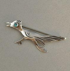 VINTAGE Native American STERLING Silver Turquoise Brooch ROADRUNNER Bird c.1970's #Roadrunner #VintageNavajoBrooch https://www.etsy.com/listing/193414526/vintage-native-american-sterling-silver?ref=shop_home_active_6