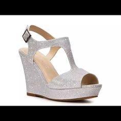 """Selling this """"Rampage Candelas sliver wedge size 7.5"""" in my Poshmark closet! My username is: liveloveengr. #shopmycloset #poshmark #fashion #shopping #style #forsale #Rampage #Shoes"""