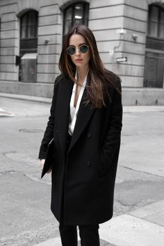 Black wool coat outfit