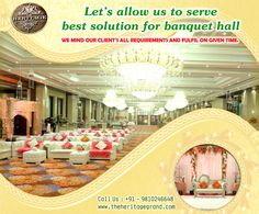 Book Banquet Hall in North Delhi Here for Your Grand Wedding  Have you planned for book your marriage venue in North Delhi area?  Let's allow us to serve best solution for banquet hall in north delhi. You will find all services like food and catering at advance level.  We mind our client's all requirements and fulfill on given time. You must visit us to make a best deal for best banquet hall for weeding events.  Visit http://theheritagegrand.com/ to know our services.