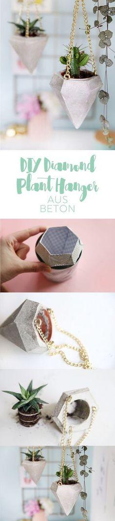 Kreative DIY-Idee zum Selbermachen: DIY-Diamant aus Beton als Pflanzenampel für kleine Kakteen