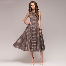 FLAVOR Vintage dress 2018 Summer New sleeveless O-neck vestidos Women  elegant thin dot printing Mid-Calf casual dress Female(China) bb319a2aeb23