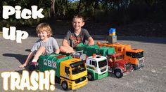 Garbage Truck Videos l 4 BIG TRASH TRUCKS Pick up, Dump and CRASH l Garb...
