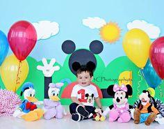 3cphotographytx@gmail.com  First birthday, first birthday cake smashing, Mickey Mouse theme, fun photo shoot