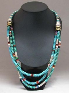 Native American Navajo Made Three-Strand Multistone Necklace with Benchmark Beads by Navajo Jewelry Artist Tommy Singer