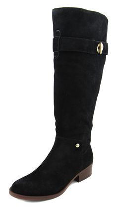 Tommy Hilfiger Women's Wide Calf Black Gallop Suede Riding Boots