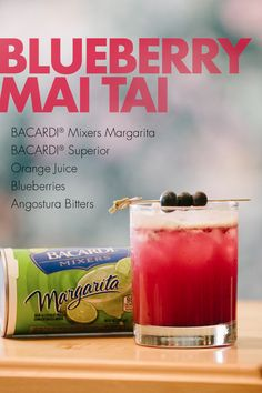 Our Blueberry Mai Tai is an on-the-rocks drink that brings fresh fruit together with orange juice, tart Margarita Mix and a hint of Angostura Bitters. Party Drinks, Cocktail Drinks, Fun Drinks, Cocktail Recipes, Beverages, Cocktails, Drinks Alcohol Recipes, Non Alcoholic Drinks, Drink Recipes