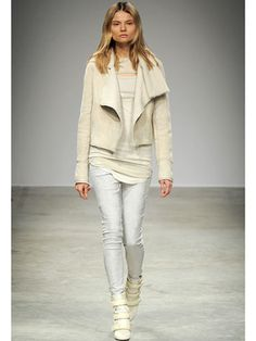 Top Looks from Europe Fall 2013 Fashion Week: Isabel Marant | Paris - Further proof white-on-white (or in this case, cream-on-cream) is one of the biggest trends to emerge from the fall runways: Isabel Marant. The French house rocked this look featuring a sherling coat and clean leather pants. And of course, it wouldn't be an Isabel Marant look without some sneaker-meet-boot action.