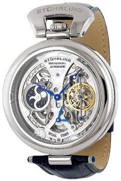 Stuhrling Original Men's 127A.3315C2 Special Reserve Emperor's Grandeur Automatic Skeleton Dual Time Silver Dial Watch