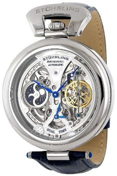 Stuhrling Original Men's 127A.3315C2 Emperor's Grandeur Automatic Skeleton Silver Dial Watch